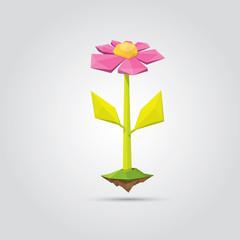 Conceptual polygonal pink spring flower.