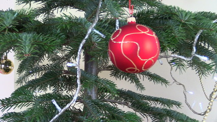 Christmas tree ball toys and decorations. blink white garland
