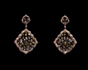 Close up of diamond earrings