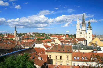 View from Zagreb Upper town to the Cathedral