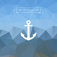 Anchor on blue abstract polygonal background.