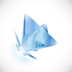 Blue topaz shard crystal icon logo vector template
