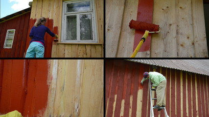 Woman and man on ladder paint wooden house. Video clips collage