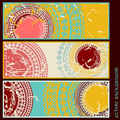 Set of old cards in ethnic style