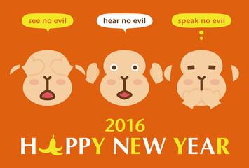 年賀状2016 三猿 happy new year