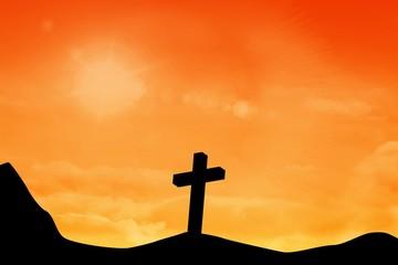 Composite image of wooden cross