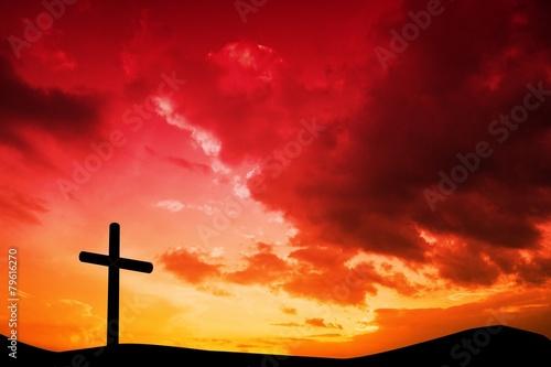 Plexiglas Begraafplaats Composite image of wooden cross