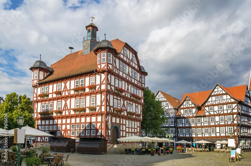 Leinwanddruck Bild Downtown of Melsungen, Germany