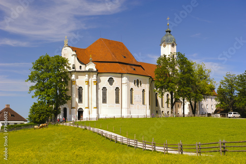 Fotobehang Temple Wieskirche bei Steingaden in Bayern
