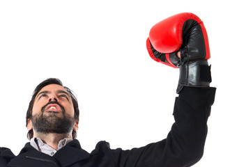 Brunette man with boxing gloves