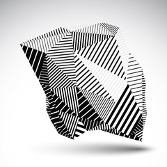 Geometric monochrome vector abstract 3D complicated backdrop, ep