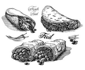 burritos vector logo design template. Mexican restaurant or fast