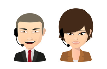 Asian female and male wearing a head set