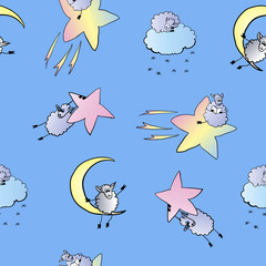 pattern of sheep in space, vector illustration