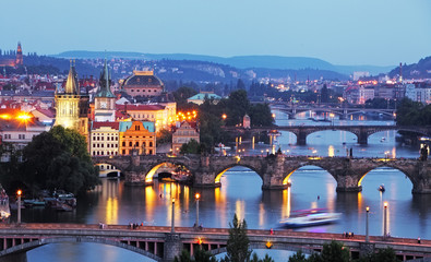 Prague cityscape at night