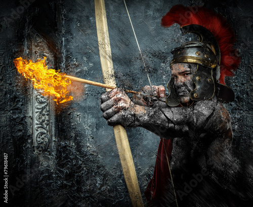 Roman soldier in action - 79618487