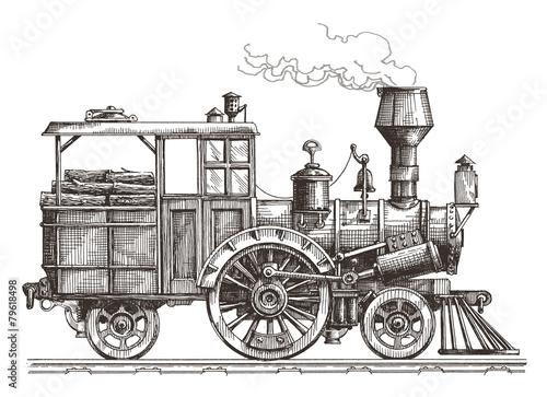 steam locomotive vector logo design template. train or transport - 79618498