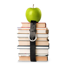 books pile with belt