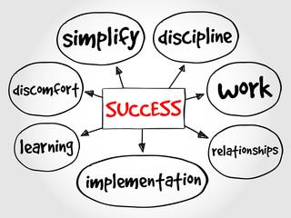 Success mind map business concept