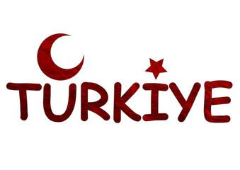 kırmızı renkli türkiye yazısı