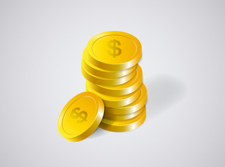 Money. Stack of Gold Coins and success in Business, isolated