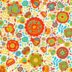 seamless pattern bright colors, floral background