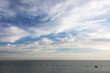 north sea with clouds and blue sky
