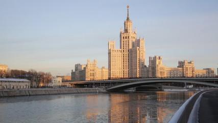 High-rise building on Kotelnicheskaya Embankment in winter twili