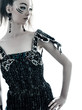 woman fashion black silk summer dress