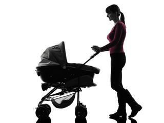 woman walking prams baby silhouette