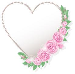 ピンクの薔薇とハート型フレーム