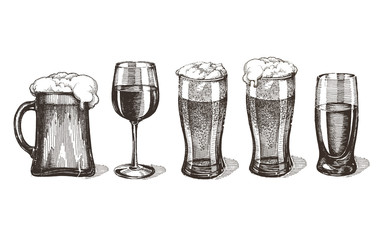 drinks vector logo design template. glasses or alcohol drink
