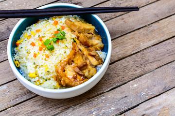 Fried rice with teriyaki chicken