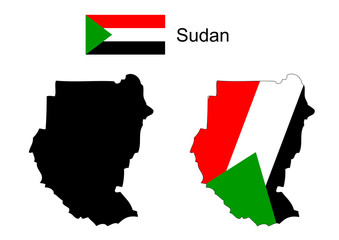 Sudan map and flag vector, Sudan map, Sudan flag