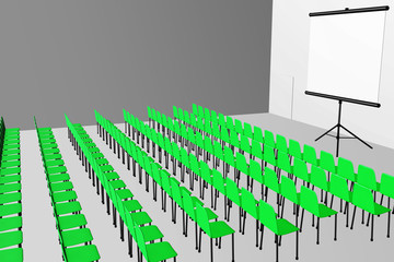 Lecture room with chairs and screen