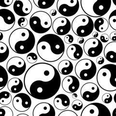 yin and yang symbols seamless black and white pattern eps10