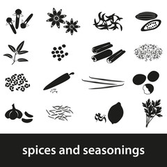 spices and seasonings black icons set eps10