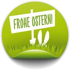 Button Osterhase mit Schild Frohe Ostern