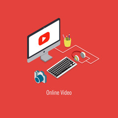 Online video flat 3d isometric modern design concept.