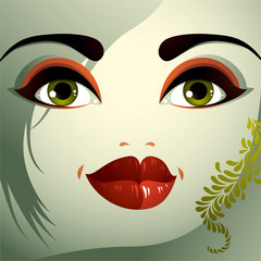 Parts of the face of a young beautiful lady with a bright make-u