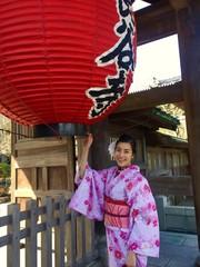 kimono girl and red lantern