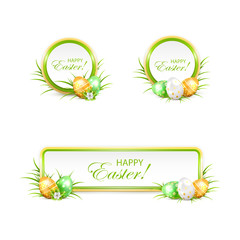 Set of Easter banners and eggs