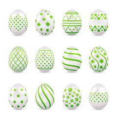 Decorative Easter eggs with green patterns