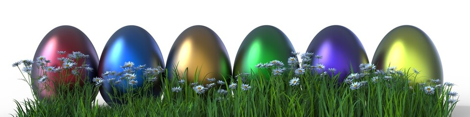 Painted Easter Eggs On Grass