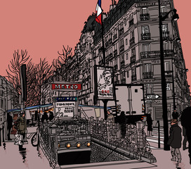 View of a street in Paris with metro station