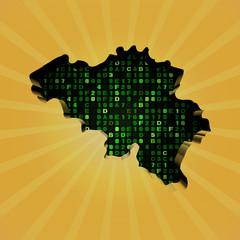 Belgium sunburst map with hex code illustration