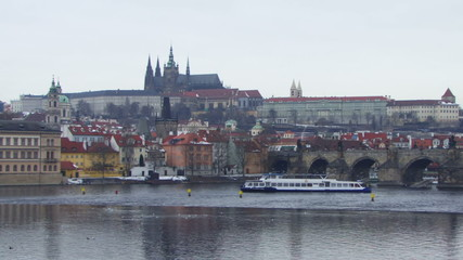 WS, Time laps, Boats on river near Old Town Bridge in Prague, Czech Republic