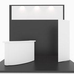 Blank black trade show booth