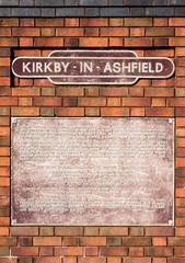 Plaque, Kirkby In Ashfield railway station