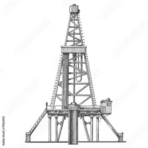 oil rig vector logo design template. petroleum or industry icon. - 79624413